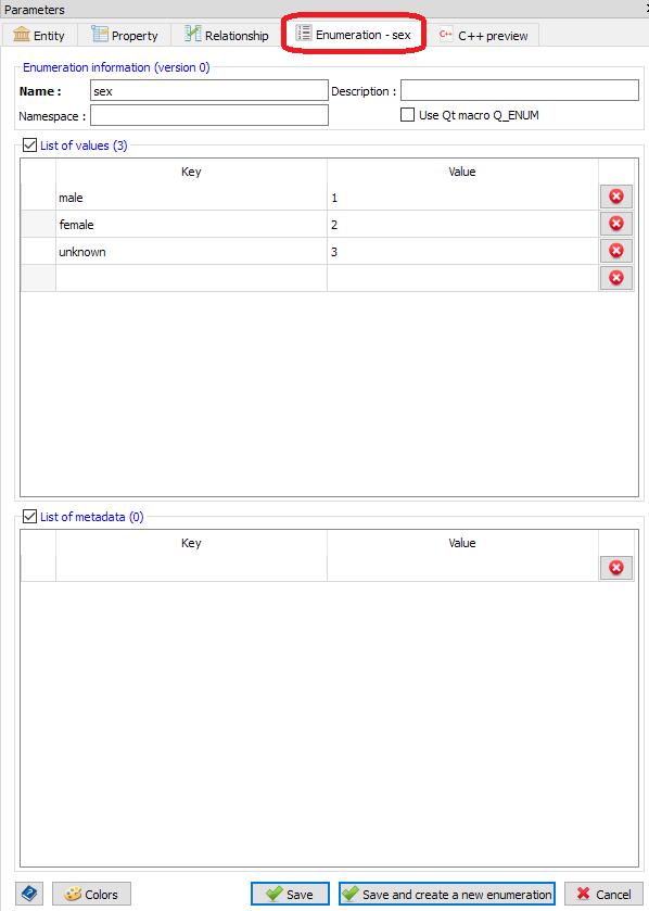 Enumeration settings