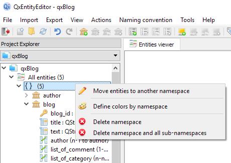 Namespace menu